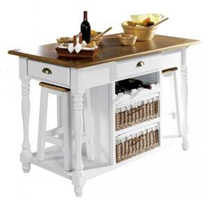 Mesa cocina con cajones madera y mimbre 140 cm.