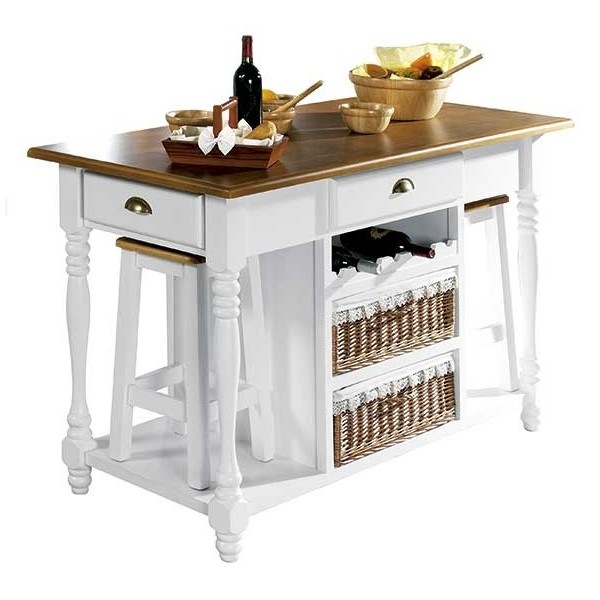 Mesa cocina con cajones madera y mimbre 140 cm. - Mueble artesanal