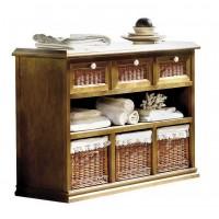 Mueble cocina con cajones de madera y frontales de mimbre 127 cm.
